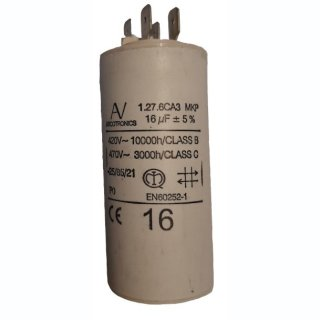 Kondensatoren 16 uF 450 VAC m. Stecker, Eco Leader 240 V