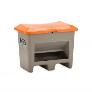 Streugutbehälter Plus 3 200 Liter mit Entnahmeöffnung mit Staplertasche Behälter grau/orange