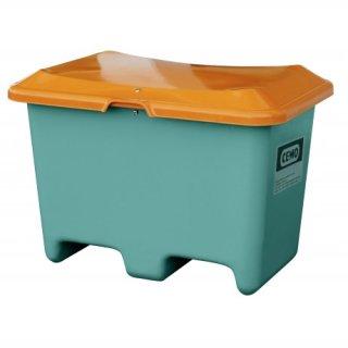 Streugutbehälter Plus 3 400 Liter ohne Entnahmeöffnung mit Staplertasche Behälter grün/orange