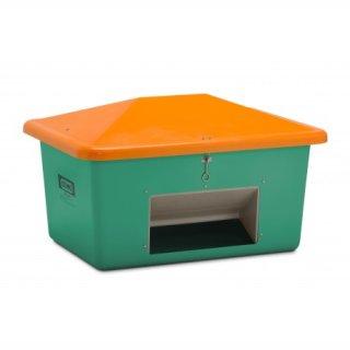 Streugutbehälter GFK 550 Liter mit Entnahmeöffnung grün/orange