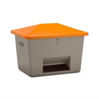 Streugutbehälter GFK 700 Liter mit Entnahmeöffnung grau/orange