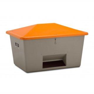 Streugutbehälter GFK 1100 Liter mit Entnahmeöffnung grau/orange