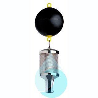 SAGF mit Schwimmkugel  150 mm, integriertem Rückflussverhinderer und 1 1/2-Schlauchtuelle