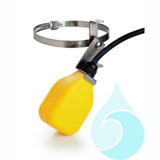 Schwimmerschalter mit Schalthebel, Befestigungsschelle und 3 m Anschlusskabel, Gehäuse gelb