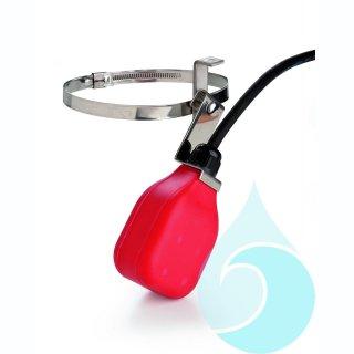 Schwimmerschalter als Trockenlaufschutz, ohne Schalt-hebel und Schelle, mit 3 m Kabel, Gehäuse rot