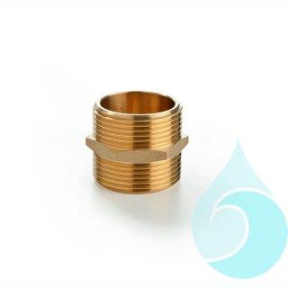 Messing-Nippel 2 x 1 1/4-AG mit Sechskant